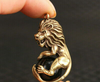 chinese old bronze hand carved leo statue figure collectable pendant netsuke