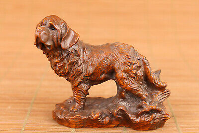 Lovely chinese boxwood hand carved dog figure statue table decoration