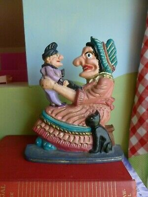 Old lady Vtg Cast Iron Woman witch Holding baby man cat Door Stop Bookend