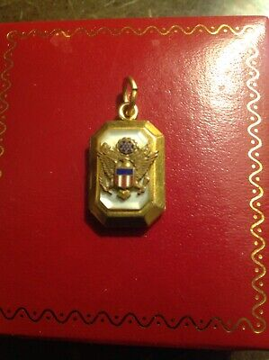 Vinage Sweetheart Locket Photo Pendant WW II US Army Eagle Military MOP