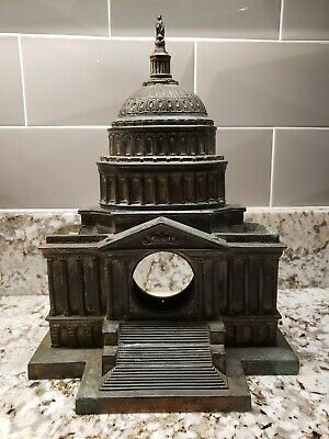 """Antique Bronze Capitol Building Mantle or Wall Clock Case 11"""" Tall"""