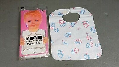 Vintage Baby Bibs Lammies Wash or Toss Fabric bibs 8 medium disposable 80s