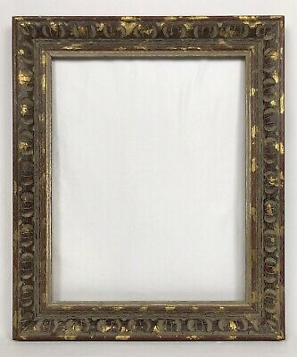 Vintage Mid Century Modern Carved Red Gold Gray & Cream Frame 16 x 20 Opening