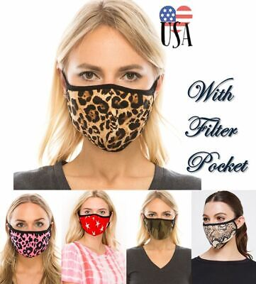Fashion Face Mask Reusable/Washable-Double Layer With Filter Pocket-USA seller