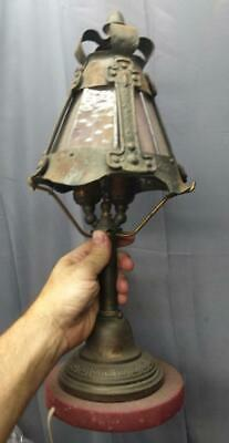 Antique Metal Wood Mission Era Arts & and Crafts Period Metal Lamp Light Fixture