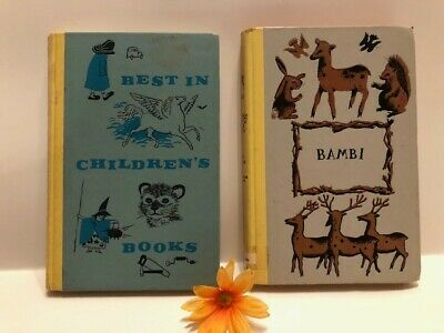 """Vintage Hardcover Books x2 - """"Bambi"""" 1929 and """"Best in Children's Books"""" 1959"""