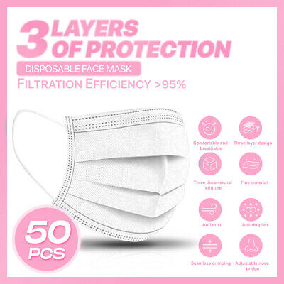 50PCS 3-PLY Layer Disposable Face Mask Dust Filter Safety Protection WHITE Color