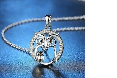Sterling Silver Wise Owl Necklace Antiqued Finish 5//8 inch 16-30 inch 0.8mm Box Chain