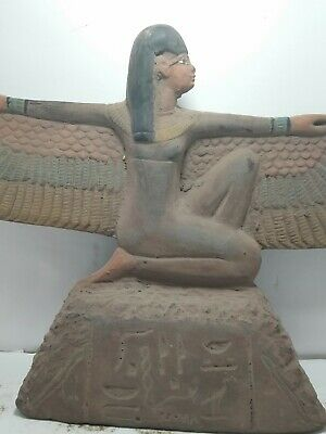 RARE ANTIQUE ANCIENT EGYPTIAN Statue Goddess Isis Winged Health Wisdom Stone Bc
