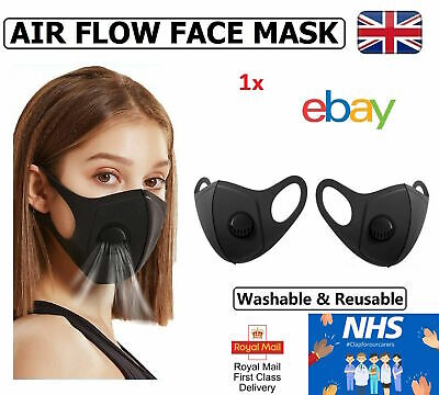 Air Flow Face Mask Breathable Washable Filter Protective Mouth Protection Black 6 95 Picclick Uk