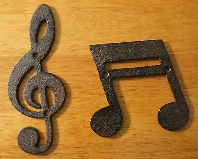 Small Cast Iron Treble Clef Double Note Wall Sculpture Sign Musical Music Decor