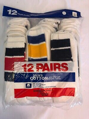 Vintage Striped Tube Socks New Deadstock Mens L 10-15 USA 12 Pairs