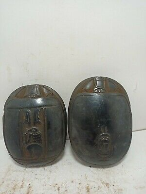 RARE ANTIQUE ANCIENT EGYPTIAN 2 Scarab Good Luck Magic Writing Hiroglyph 1640 Bc