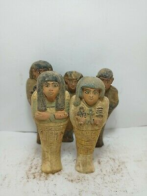 RARE ANTIQUE ANCIENT EGYPTIAN Statue 5 Ushabti Work as Sevant Minions 1635 Bc