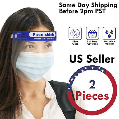 2PCS Adjustable Full Face Shield Reusable Washable Protection Safety Cover Visor