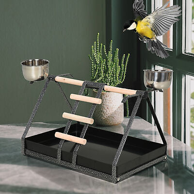 Bird PlayStand with Wooden Perch Ladder Feeding Cups for Macaw Parrot Conure