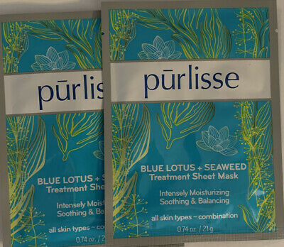 Box of 6 Purlisse Blue Lotus + Seaweed Treatment Sheet Masks Face New Boxed