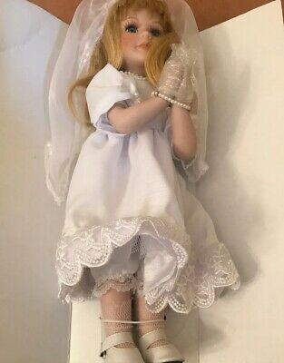 """Communion Religious Gift ✝ Porcelain FIRST COMMUNION 12/"""" DOLL Blonde New"""