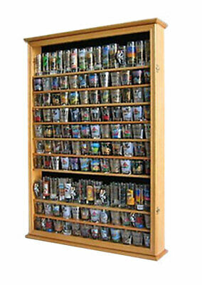 144 Shot Glass Display Case Wall Rack Cabinet Shadow Box LOCKABLE SC16L-OA