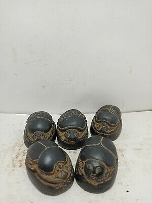 RARE ANTIQUE ANCIENT EGYPTIAN 5 Scarabs Good Luck Hiroglyphic 1541-1472 Bc