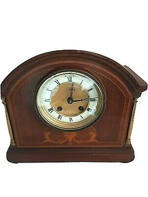 Edwardian Inlaid Mahogany Mantel Clock Domed Top.Untested Spares/Repairs Only