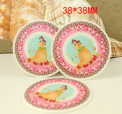 Planar Resin Hair Bow Center WHOLESALE Beauty and the Beast 44 x 37mm 4 pc