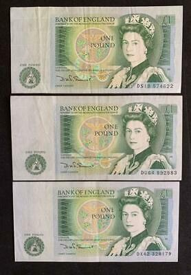 1981 3 x SOMERSET  £1 One Pound Notes  Pre-fixes DS19 DV64 DX42 EF B341 SN9671
