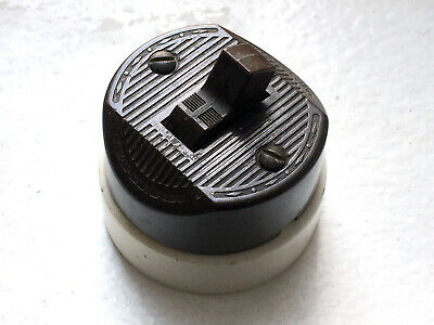 Single-Pole Bakelite//Porcelain ⭐ Vintage Round Toggle Light Switch Leviton