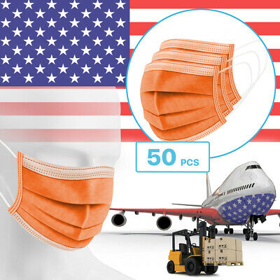 50 Packs - Orange 3-Ply Disposable Procedural Face Mask Protective Mouth Cover