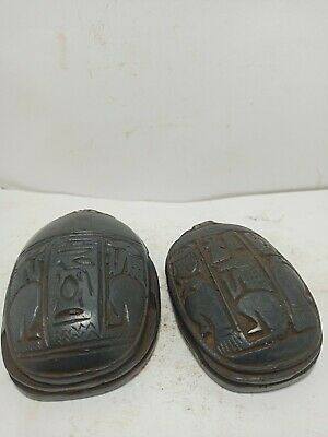 RARE ANTIQUE ANCIENT EGYPTIAN Statue 2 Scarab Beetle Key of Life Stone 1600 Bc