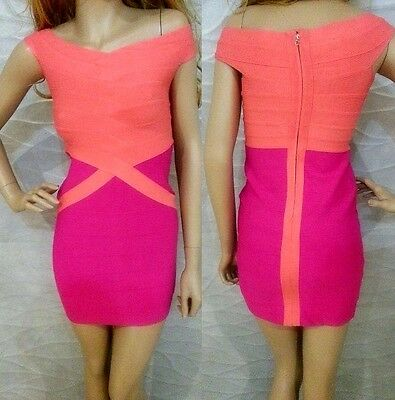 NWT bebe coral pink v neck contrast bandage party top bodycon dress XL party
