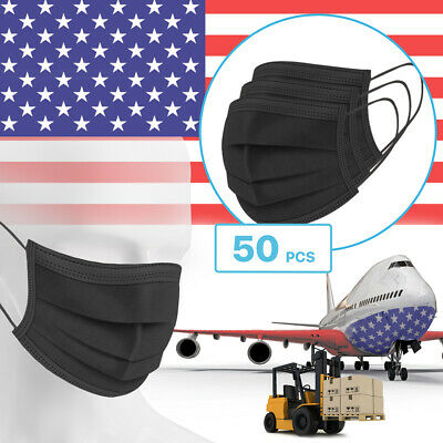 50 Packs - Black 3-Ply Disposable Procedural Face Mask Protective Mouth Cover