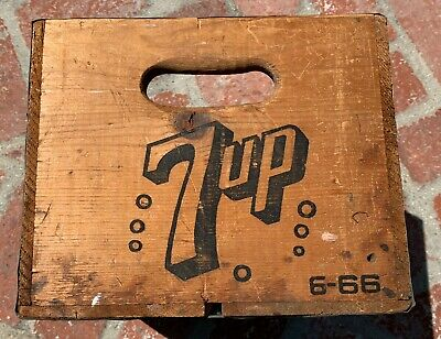 MINIATURE 4 INCH Seven-Up Wooden Crate with dividers for 12 Bottles of 7UP