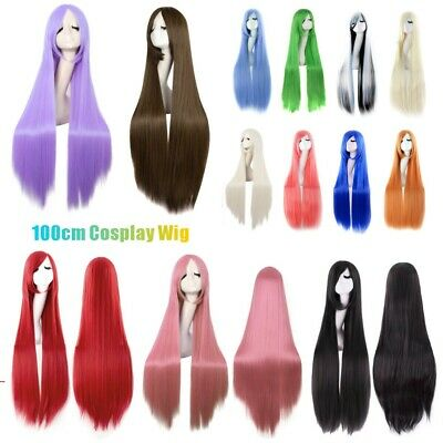Womens Long Straight Hair Wig Anime Cosplay Party Full Wigs Costume Fancy Dress
