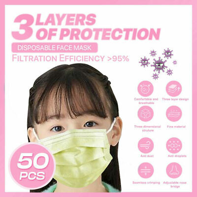 [Kid Child] [50-PC]3PLY Layer Disposable Face Mask Dust Filter Protection Yellow