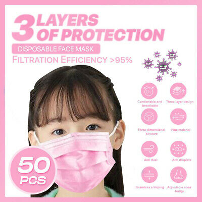 [Kid Child] [50-PC]3PLY Layer Disposable Face Mask Dust Filter Protection Pink