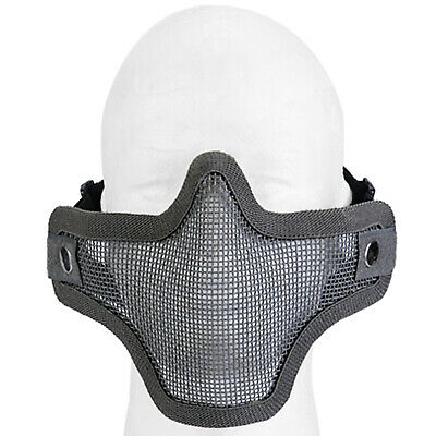 Lancer Tactical Metal Mesh Half Face Protective Airsoft Paintball Mask - Gray
