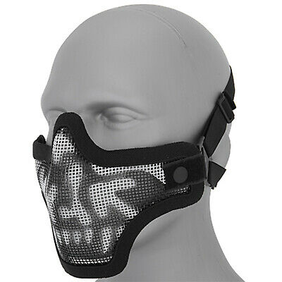 Lancer Tactical Metal Mesh Half Face Protective Airsoft Paintball Mask - Skull