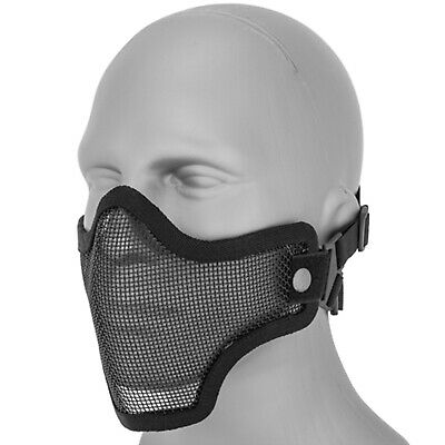 Lancer Tactical Metal Mesh Half Face Protective Airsoft Paintball Mask - Black
