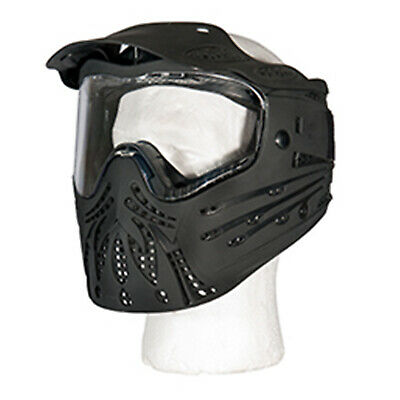 Lancer Tactical Polymer Airsoft Paintball Full Face Mask w/ Visor - Black/Clear