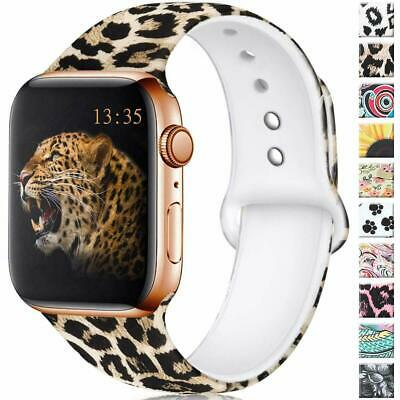 US For Apple iWatch Series 6 5 4 3 21 Leopard Silicone Strap Bracelet Watch Band