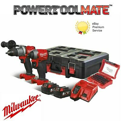 Milwaukee M18FPP2A2-502P Fuel M18FPD2 & M18FID2 5ah in Packout Case and Bit Set!