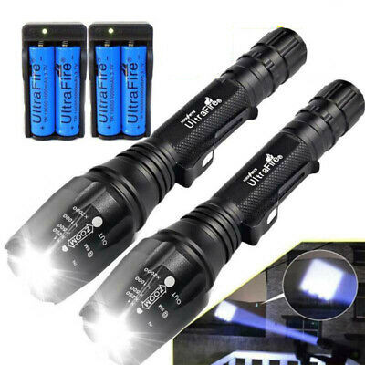 1000000LM High Power T6 LED Rechargeable Flashlight Torch Light+Battery+Charger