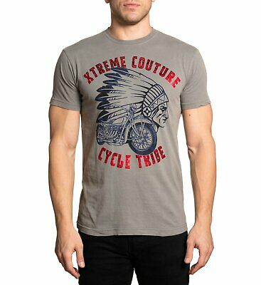Xtreme Couture by Affliction Short Sleeve T-Shirt Mens CYCLE TRIBE Brown Gray