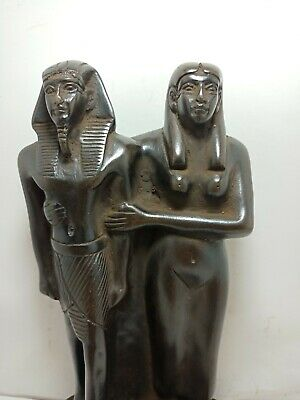 RARE ANTIQUE ANCIENT EGYPTIAN Statue King Ramses and Wife Museum Quality 1279 Bc
