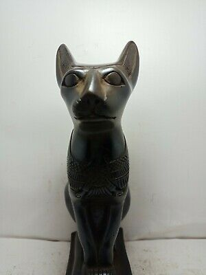 RARE ANTIQUE ANCIENT EGYPTIAN Statue God Bastet Cat Scarab Protection 1820 Bc
