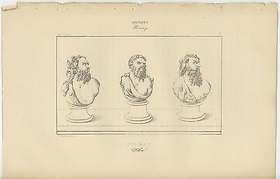 Antique Pompeii Herculaneum Roman Grecian Man Beard Head Bust Old Art Print