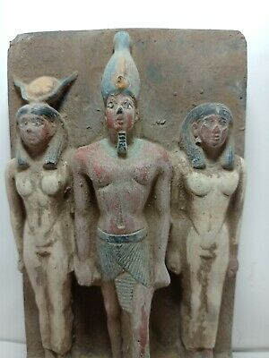 RARE ANTIQUE ANCIENT EGYPTIAN Statue King Menkaure Gods Isis Amun Hathor 2450 Bc