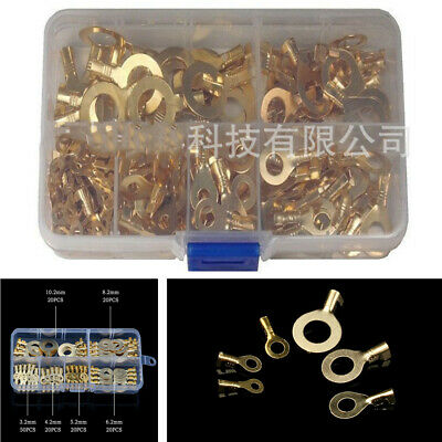 185x Wire Crimp Copper Ring Lug Car Cable Terminal Connector Lead AWG 22-4 8Size