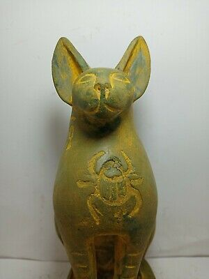 RARE ANTIQUE ANCIENT EGYPTIAN Statue Goddess Bastet Cat Protection Scarab 1750bc